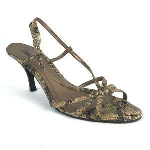 Fioni Gray Snakeskin Strappy Heel Sandals Sz 8.5